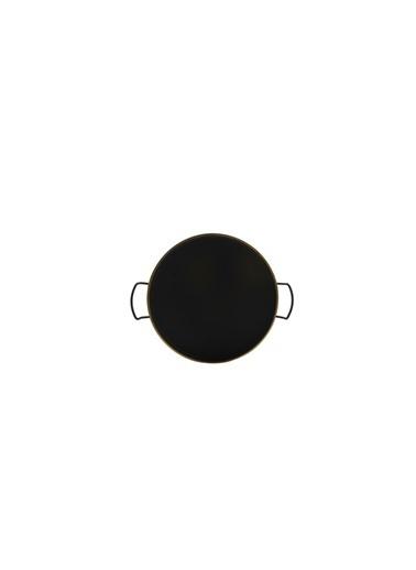 ZCD Siyah Altın Yuvarlak Metal Tepsi 25Cm Renkli